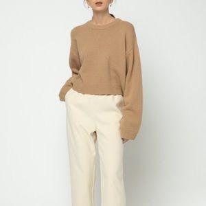 Oak + Fort | Creme Elastic Waist Ribbed Pants